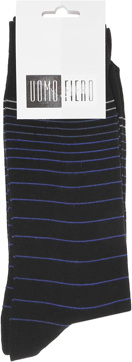 Носки мужские Uomo Fiero, цвет: черный. MS060. Размер 25 (39/41)MS060Мужские носки классической длины Uomo Fiero изготовлены из высококачественного хлопка с добавлением полиамида. Усиленная пятка и мысок обеспечивают долговечностью и комфорт. Носки оформлены узором в тонкую полоску.