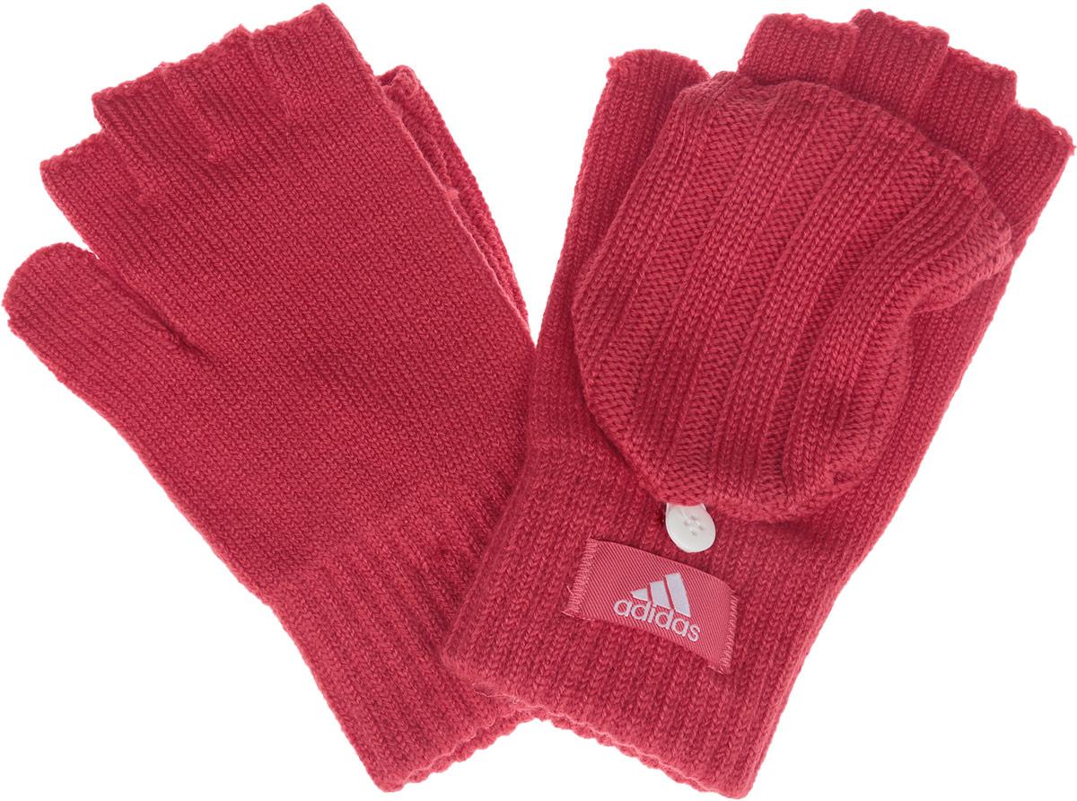Перчатки-варежки женские adidas W Ess Gloves, цвет: бледно-красный. AY6610. Размер L (22)AY6610Вязаные женские перчатки-варежки Adidas W ess gloves не только защитят ваши руки, но и станут великолепным украшением. Перчатки, выполненные из высококачественных материалов, хорошо сохраняют тепло, мягкие, идеально сидят на руке и хорошо тянутся.Изделие представляет собой перчатки без пальцев, к внешней стороне которых крепится капюшон, накинув его на пальцы, перчатки превращаются в варежки. Капюшон фиксируется на перчатке при помощи пуговицы. Модель дополнена с внешней стороны нашивкой с надписью бренда.