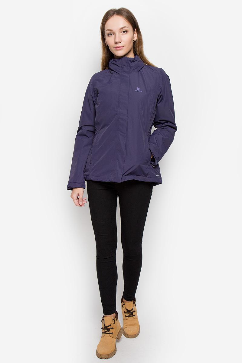 Куртка женская Salomon Elemental, цвет: фиолетовый. L38293600. Размер XL (52/54)L38293600Женская куртка Salomon Elemental с длинными рукавами, несъемным капюшоном выполнена из прочного полиэстера. Благодаря материалу Advanced Skin Dry она защитит вас от дождя и ветра.Куртка застегивается на застежку-молнию спереди и имеет ветрозащитный клапан на липучках. Капюшон сворачивается и фиксируется липучкой сзади, трансформируясь в воротник-стойку. Его объем регулируется при помощи шнурка-кулиски со стопперами. Манжеты рукавов дополнены хлястиками на липучках. Изделие дополнено двумя втачными карманами на молниях спереди и внутренним втачным карманом на молнии. Объем низа регулируется при помощи шнурка-кулиски со стопперами.