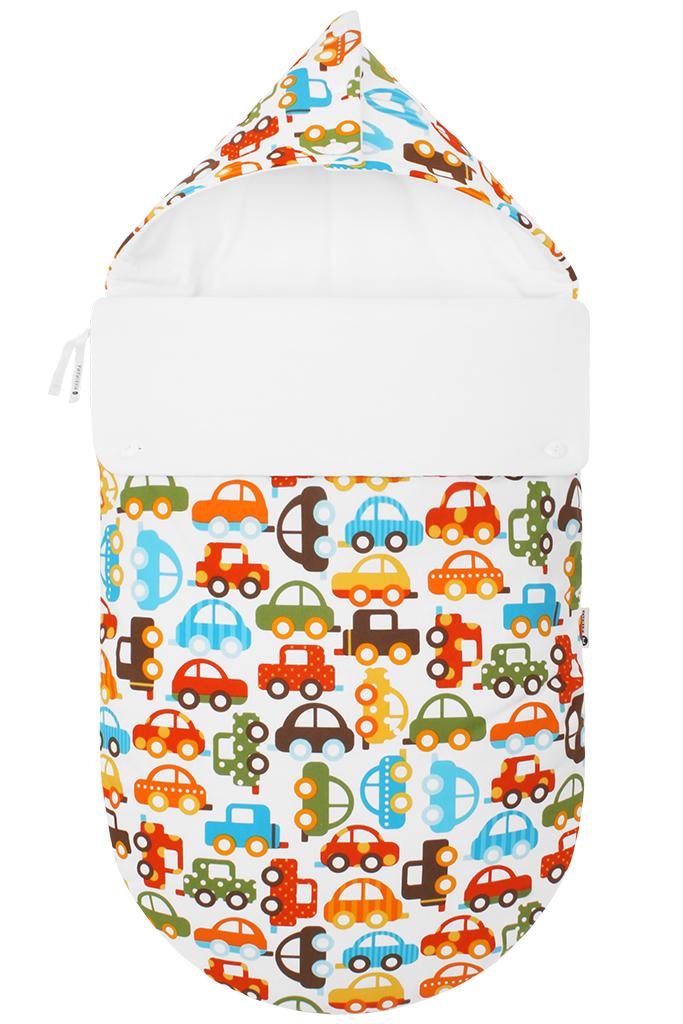 Конверт прогулочный для новорожденного зимний Mikkimama Берегись автомобиля!, цвет: белый, оранжевый, голубой. 100100291. Размер 0/6мес100100291Конверт для новорожденного Mikkimama Берегись автомобиля! порадует даже самых требовательных мам и согреет малыша в холодную погоду. Изделие подойдет как для выписки малыша из роддома, так и для дальнейших прогулок на руках и в коляске. Конверт изготовлен из хлопка на хлопковой подкладке. В качестве утеплителя используются альполюкс и Polartec. Альполюкс - экологически чистый утеплитель премиум класса. Уникальное сочетание натуральной шерсти мериноса и микроволокна помогают поддержать оптимальную для новорожденного температуру: малышу теплее на улице даже в самый сильный мороз. Polartec используется для сохранения тепла. Он не намокает, не впитывает запахи, прекрасно сохраняет форму и объем, и при этом дышит и сохраняет тепло и не хуже чем шерсть. Верхняя часть конверта может использоваться в качестве капюшона, с помощью пластиковых пуговиц, она принимает вид треугольного капюшона. Конверт закрывается при помощи пластиковой застежки-молнии и при необходимости он раскладывается в удобный коврик для пеленания или игр. Благодаря продуманной системе застежек, конверт полностью раскрывается. Легко отстегивающийся отворот защитит кроху от холодного ветра. Также конверт можно использовать в качестве накидки на ножки для ребенка постарше. Оформлено изделие оригинальным ярким принтом.В подарок входят теплые муфты-варежки для рук.Рекомендуемая температура от -20°С до +10°С.