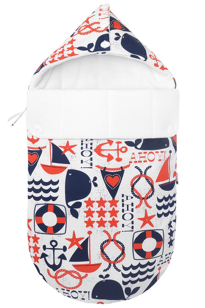 Конверт прогулочный для новорожденного зимний Mikkimama Свистать всех наверх!, цвет: белый, темно-синий, красный. 100101081. Размер 0/6мес стоимость