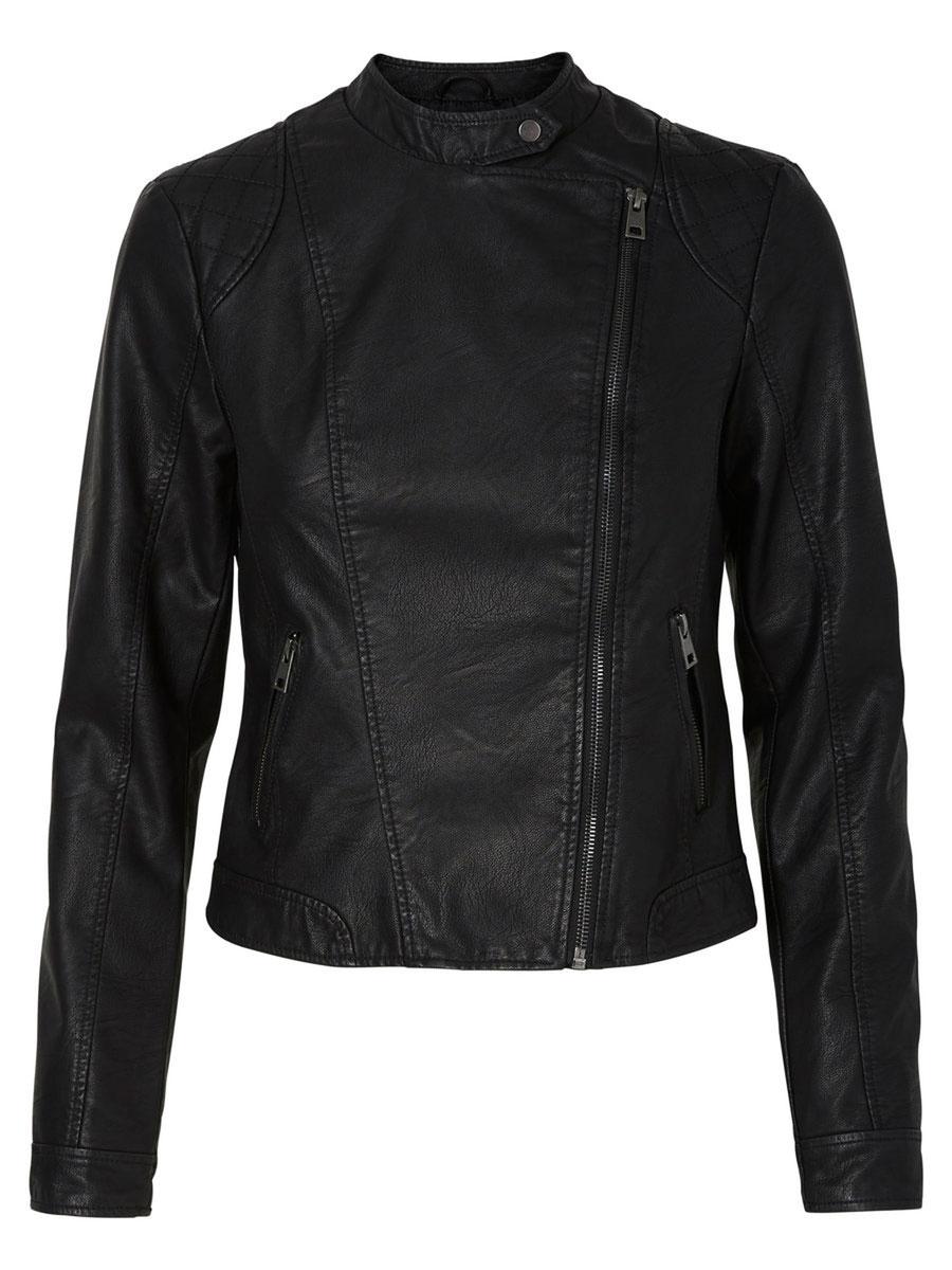 Куртка женская Vero Moda, цвет: черный. 10156497. Размер XS (40)10156497_BlackЖенская куртка Vero Moda, выполненная из полиуретана и вискозы, отлично подойдет для прохладной погоды. Изделие дополнено подкладкой из 100% полиэстера. Модель с воротником-стойкой и длинными рукавами спереди застегивается на ассиметричную застежку-молнию. Спереди расположено два прорезных кармана на застежка-молниях.