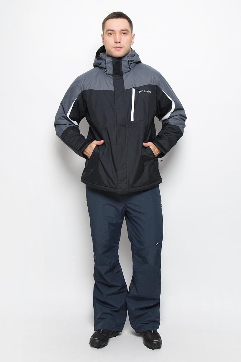 Куртка мужская Columbia Shredinator Ski Jacket, цвет: черный, серый. 1693871-011. Размер M (46/48)1693871-011Горнолыжная мужская куртка Columbia Shredinator Jacket Mens Ski Jacket идеально подойдет для активных занятий спортом на свежем воздухе. Изделие выполнено из водооталкивающей ткани. Куртка с капюшоном и воротником-стойкой застегивается на молнию с двумя ветрозащитными планками. Внешняя планка имеет застежки-кнопки и липучки. Регулируемый капюшон пристегивается к куртке при помощи молнии. Края рукавов дополнены хлястиками на липучках. На модели имеется съемная снегозащитная юбка с кнопками. По краю куртки предусмотрена скрытая резинка со стопперами. Спереди расположены три функциональных кармана на молнии. Изделие дополнено внутренним потайным карманом на молнии и объемным накладным карманом из сетчатого материала. Куртка оформлена вышитым логотипом бренда.