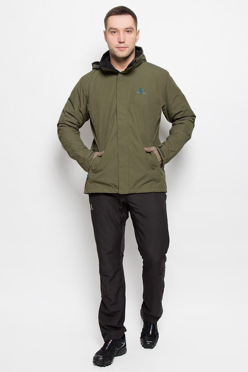 Куртка мужская Salomon Elemental Insulated, цвет: хаки. L38217700. Размер XXL (60)L38217700Мужская куртка Salomon Elemental Insulated с длинными рукавами и воротником-стойкой, трансформирующимся в капюшон, выполнена из прочного полиэстера. Наполнитель - синтепон. Подкладка выполнена из нейлона. Благодаря материалу Advanced Skin Dry такая модель защитит вас от дождя и ветра. Капюшон при необходимости можно свернуть и спрятать в специальный клапан на воротнике, где он фиксируется при помощи липучки. Куртка застегивается на застежку-молнию спереди и имеет ветрозащитный клапан на липучках. Манжеты рукавов дополнены хлястиками на липучках. Изделие оснащено двумя втачными карманами на застежках-молниях спереди, а также внутренним втачным карманом на молнии. Низ изделия дополнен шнурком-кулиской, объем капюшона также регулируется при помощи шнурка-кулиски.