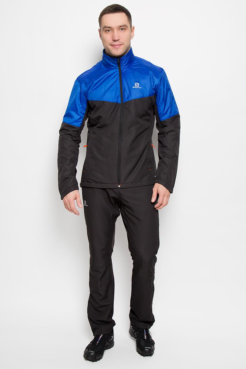 Куртка для катания мужская Salomon Escape, цвет: синий, черный. L39108000. Размер M (48/50)L39108000Мужская куртка для катания Salomon Escape с длинными рукавами и воротником-стойкой выполнена из прочного полиэстера с подкладкой из флиса. Наполнитель - синтепон. Благодаря материалу Advanced Skin Shield такая модель защитит вас от дождя и ветра. Модель дополнена вставками из эластичного нейлона, обеспечивающими необходимую вентиляцию. Куртка застегивается на застежку-молнию спереди. Изделие оснащено двумя втачными карманами на застежках-молниях спереди. Низ изделия дополнен шнурком-кулиской со стопперами.