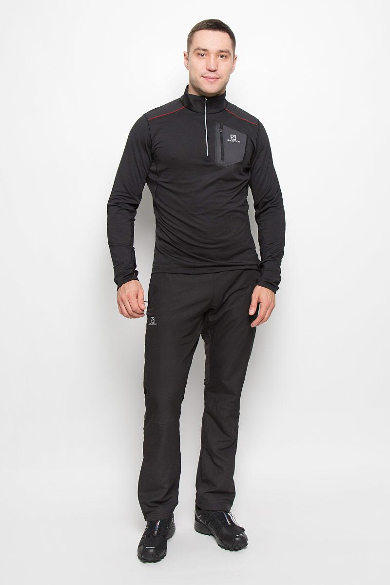 Лонгслив для бега мужской Salomon Trail Runner Warm, цвет: черный. L38272900. Размер XL (56/58)L38272900Мужская водолазка для бега Salomon Trail Runner Warm с длинными рукавами и воротником-стойкой на застежке-молнии выполнена из эластичного полиэстера. Модель дополнена вставками из полиэстера, которые позволяют эффективно отводить влагу от тела. Изделие дополнено втачным карманом на молнии спереди и украшено светоотражающими полосками на спинке и на груди.