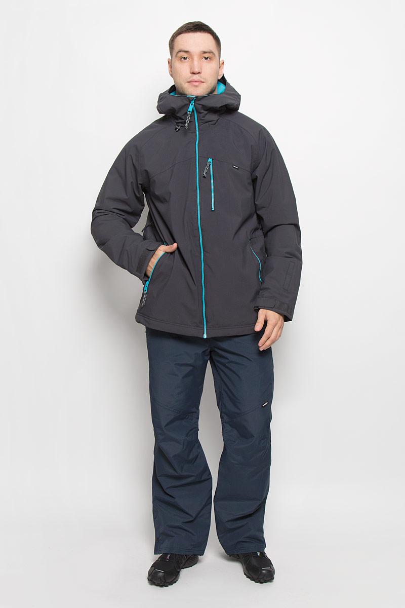 Куртка для сноуборда мужская ONeill Pm Exile, цвет: темно-серый. 650032-8015. Размер M (48)650032-8015Мужская куртка для сноуборда ONeill Pm Sector выполнена из полиэстера с подкладкой из синтепона.Модель с длинными рукавами и несъемным капюшоном застегивается на застежку-молнию спереди. Изделие дополнено тремя втачными карманами на застежках-молниях, внутренним втачным карманом на кнопке и накладным карманом-сеткой, также имеется небольшой кармашек на рукаве. Рукава дополнены эластичными резинками на манжетах, а также хлястиками с липучками, которые позволяют регулировать обхват манжет. По бокам куртки, от линии талии до середины рукавов, расположены вентиляционные отверстия с сетчатыми вставками, закрывающиеся на застежки-молнии. Куртка оснащена внутренней противоснежной вставкой на кнопках. Низ куртки дополнен шнурком-кулиской. Объем капюшона также регулируется при помощи шнурка-кулиски. Водонепроницаемость: 10 000 мм. Паронепроницаемость: 10 000 гр/м/24ч.