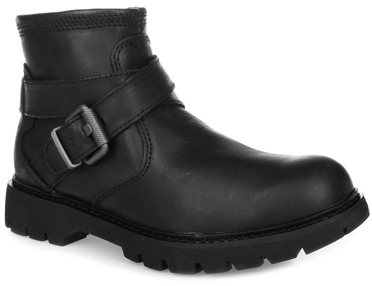 Ботинки женские Caterpillar Rey, цвет: черный. P308968. Размер 6 (36,5)P308968Стильные ботинки Rey от Caterpillar не оставят вас равнодушной. Модель выполнена из натуральной высококачественной кожи. Подъем оформлен декоративным ремешком с металлической пряжкой. На ноге модель фиксируется с помощью удобной боковой застежки-молнии. Внутренняя поверхность и стелька, изготовленные из мягкого текстиля, сохраняют тепло и создающего комфорт. Подошва с агрессивным протектором гарантирует отличное сцепление с любой поверхностью.