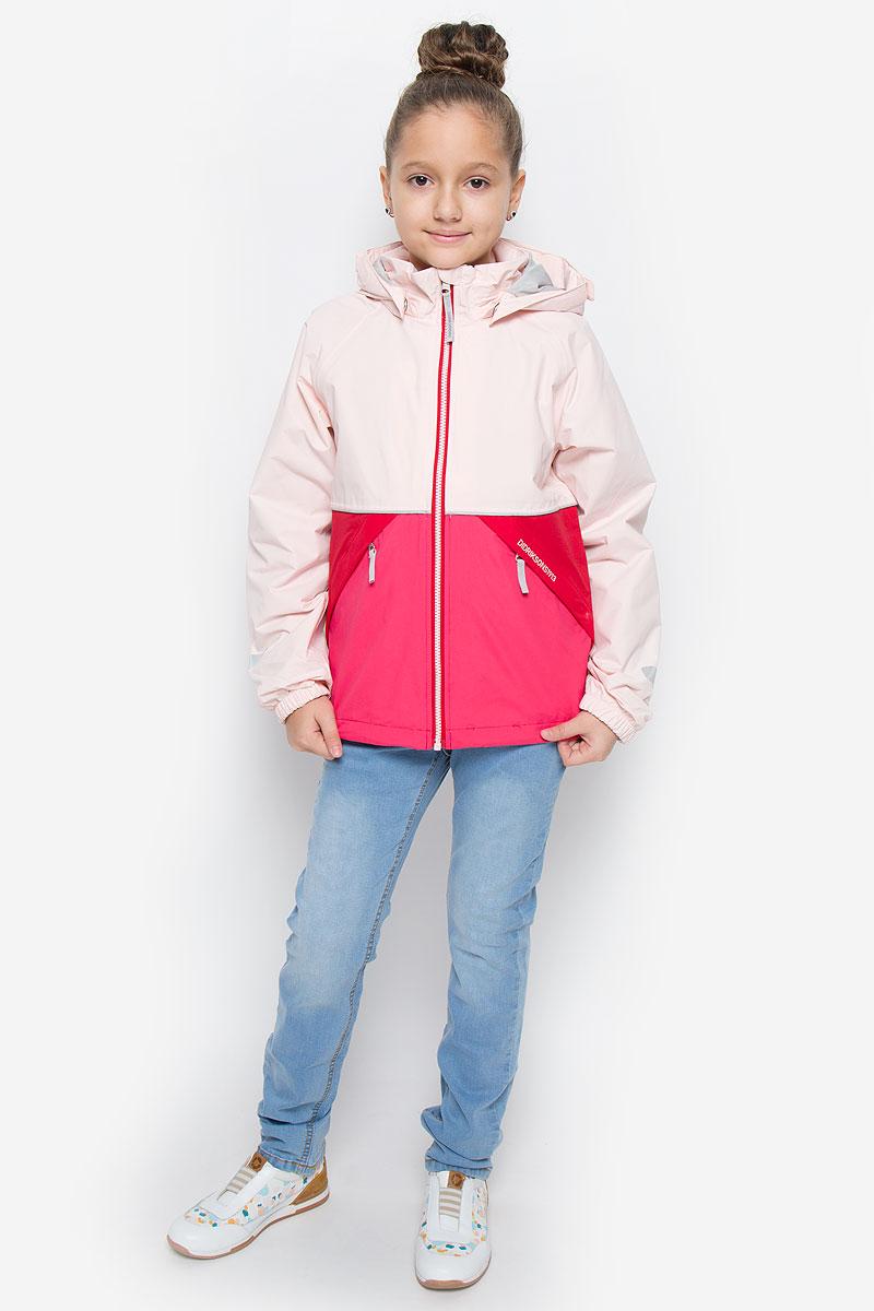 Куртка для девочки Didriksons1913 Storm System Yallock, цвет: светло-розовый, красный. 500787_188. Размер 130500787_188Куртка для девочки Didriksons1913 Storm System Yallock выполнена из непромокаемой и непродуваемой мембранной ткани. Ткань полностью водонепроницаема, а швы прошиты и пропаяны по особой технологии. Комбинированная подкладка изготовлена из полиамида и полиэстера. Модель с капюшоном и воротником-стойкой застегивается на молнию с защитой подбородка и внутренней ветрозащитной планкой. Регулируемый капюшон пристегивается к куртке с помощью кнопок. На рукавах предусмотрены эластичные манжеты. По краю куртка дополнена затягивающимся эластичным шнурком. Спереди расположены два прорезных кармана на молниях, с внутренней стороны имеется прорезной карман с застежкой-молнией. Модель растет вместе с ребенком: уникальный крой изделия позволяет при необходимости увеличить длину рукавов на один размер, распустив специальный внутренний шов. Куртка оснащена светоотражающими элементами для безопасности ребенка в темное время суток. Рассчитана на температуру от +12°С до +17°С.