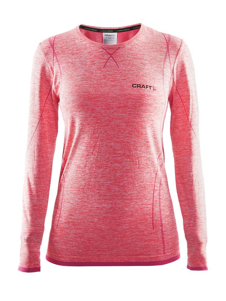 Термобелье кофта женская Craft Active Comfort, цвет: розовый меланж. 1903714. Размер L (48)1903714Универсальное женское термобелье. Мягкая и эластичная, легкая, но согревающая ткань термобелья сохранит ваше тело в тепле, сухости и комфорте. Прекрасная терморегуляция, свободный крой и плоские швы. Различные зоны плотности материала с учетом картографии тела. Бесшовный дизайн для оптимальной свободы движений.