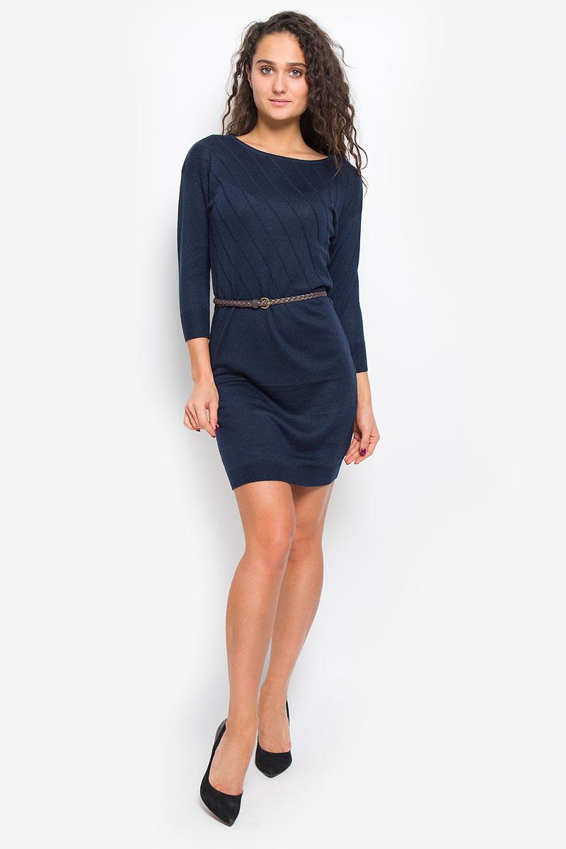 Платье Sela Casual, цвет: темно-синий. DSw-117/1074-6445. Размер L (48)DSw-117/1074-6445Легкое трикотажное платье Sela Casual, изготовленное из высококачественного комбинированного материала, поможет создать привлекательный образ. Материал изделия мягкий, тактильно приятный, позволяет коже дышать. Модель с круглым вырезом горловины и цельнокроеными рукавами длинной 3/4. Платье оформлено однотонными полосками и дополнено тонким, текстильным пояском.Такое платье будет дарить вам комфорт в течение всего дня, и послужит замечательным дополнением к вашему гардеробу.