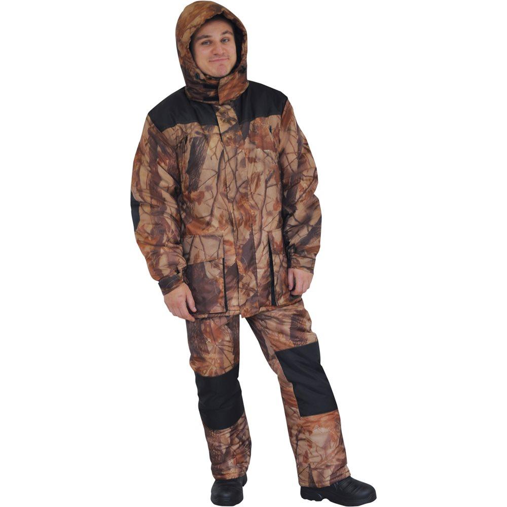 Костюм охотничий мужской HunterMan Nova Tour Кедр, цвет: лес. 95851-705. Размер S (48)95851-705Надежный костюм для зимней охоты. Выполнен из высококачественного материала. Куртка с большим количеством карманов, с регулируемым капюшоном и воротником-стойкой застегивается на двухзамковую молнию. Манжеты рукавов регулируются хлястиками с липучками, низ куртки регулируется по ширине. Комбинезон дополнен регулируемыми по росту лямками, эластичными боковыми вставками, карманами на застежках-молниях.