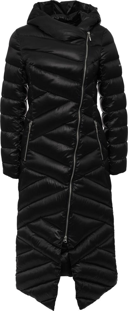 Пальто женское Finn Flare, цвет: черный. W16-12004_200. Размер S (44)W16-12004_200Женское пальто Finn Flare выполнено из полиэстера с добавлением нейлона. В качестве утеплителя используются пух. Модель с несъемным капюшоном застегивается на застежку-молнию с внутренней ветрозащитной планкой на кнопке. Спереди расположены два прорезных кармана с застежками-молниями.