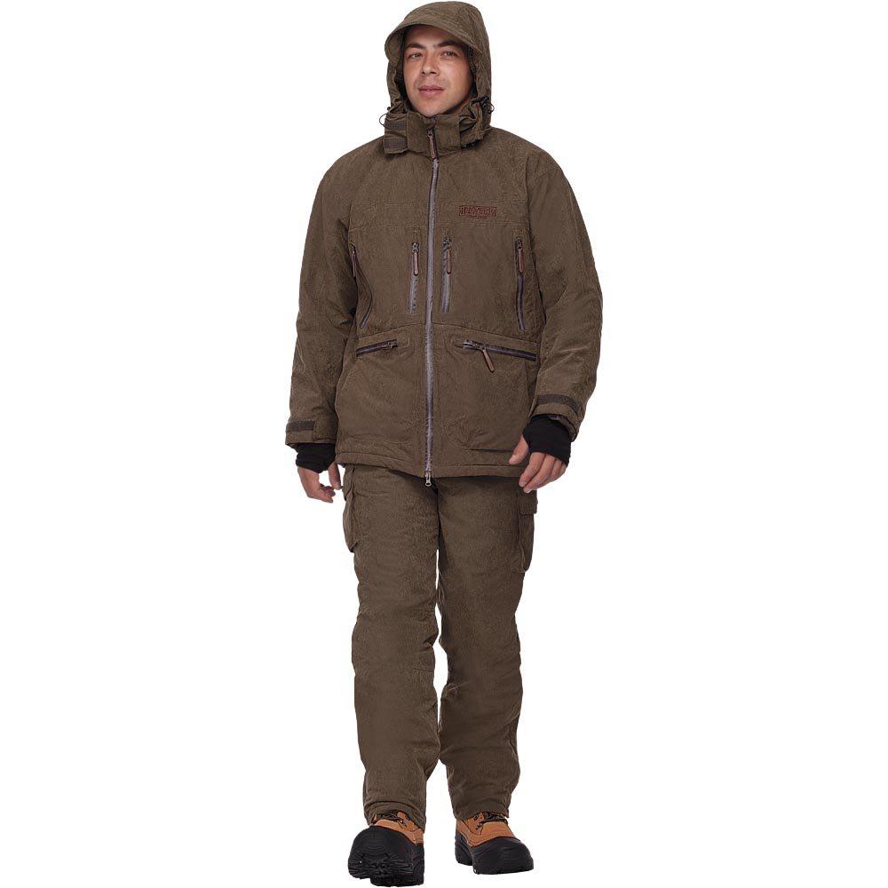 Костюм мужской охотничий HunterMan Nova Tour, цвет: хаки. 47053-520. Размер S (50)47053-520Зимний костюм Вольф для охоты и отдыха, состоящий из куртки и брюк, выполнен из плотного материала Micro Fibre Peach с утеплителем Termo MAX. Куртка с капюшоном и воротником-стойкой застегивается на водонепроницаемую двухзамковую застежку-молнию. Регулируемый капюшон с козырьком пристегивается к куртке при помощи застежки-молнии и застегивается под подбородком клапаном на липучках. Рукава анатомического кроя дополнены внутренними флисовыми манжетами. Брюки имеют анатомический крой в области колена. Понизу брючины регулируются по ширине и дополнены снегозащитной муфтой. Костюм дополнен множеством вместительных карманов.Влагостойкость, 10000мм. Паропроницаемость - 10000мл/м.кв/24часа.