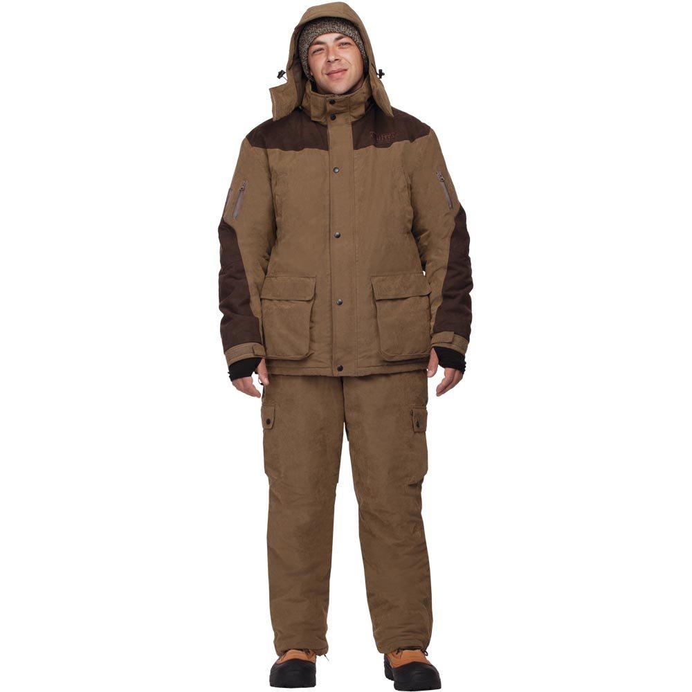 Костюм мужской охотничий HunterMan Nova Tour, цвет: хаки. 47043-520. Размер XXL (58)47043-520Благодаря анатомическому крою куртки и брюк костюм не стесняет движений. Нешуршащая ткань, накладка из износостойкой ткани на правом плече для лучшей прикладистости оружия, накладка на левом плече для переноски сумок, ягдташа и т. д. Два объемных кармана на куртке для дополнительного снаряжения, съемный патронташ, отделение на груди куртки для документов. Объемные карманы внутри куртки для документов или бинокля. Анатомический капюшон с возможностью регулировки. Утеплитель Termo MAX сбережет тепло в холода.Костюм упакован в специальную сумку.