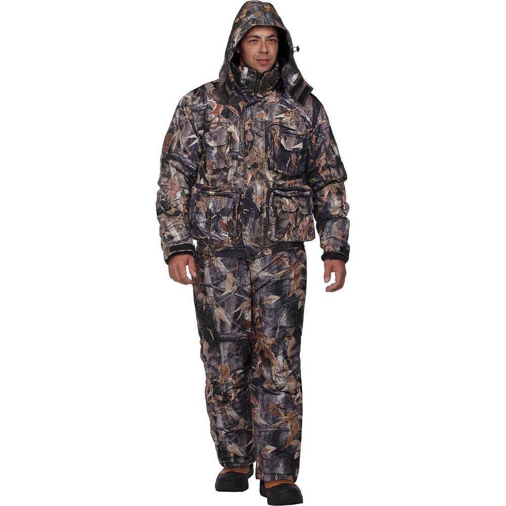 Костюм мужской охотничий HunterMan Nova Tour Гриф V2, цвет: лес. 47023-715. Размер S (50)47023-715Зимний костюм Гриф V2 для охоты и отдыха, состоящий из куртки и брюк, выполнен из плотного материала Tricot с утеплителем Termo MAX на подкладке из ворсового полотна 160 г/кв.м. Куртка с капюшоном и воротником-стойкой застегивается на застежку-молнию и дополнительно имеет ветрозащитный клапан на кнопках. Регулируемый капюшон пристегивается к куртке при помощи застежки-молнии. Рукава дополнены внутренними флисовыми манжетами. Брюки дополнены съемными широкими эластичными лямками, регулируемыми по длине. Понизу брючины регулируются по ширине и дополнены снегозащитной муфтой. Костюм дополнен множеством вместительных карманов.Влагостойкость, 5000мм. Паропроницаемость - 5000мл/м.кв/24часа.