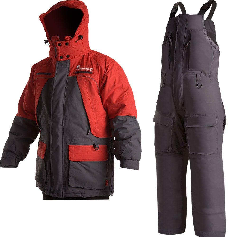 Костюм мужской рыболовный FisherMan Nova Tour Фишермен V2, цвет: серый, красный. 46203-055. Размер XXL (58)46203-055Костюм состоит из куртки и полукомбинезона. Обновленная версия костюма Фишермен, отличается более современной конструкцией и удобной посадкой костюма по фигуре.Новый утеплитель Termo MAX обеспечит непревзойденный комфорт и сохранение тепла в условиях зимней рыбалки.Проклеенные швы защищают от попадания воды. Климатическая мембрана прекрасно отводит влагу.Регулировка рукавов и низа брюк по ширине препятствует попаданию воды, снега, а также задуванию холодного воздуха.Внутренние флисовые манжеты прекрасно сохраняют тепло.Теплый съемный капюшон с жестким козырьком прекрасно защитит Вас от попадания снега, дождя и ветра. Капюшон регулируется по ширине и по объему.Ветрозащитная юбка препятствует попаданию снега и задуванию ветра.Регулировка полукомбинезона по росту и эластичные боковые вставки обеспечивают комфортную посадку по фигуре.Удобные внешние и внутренние карманы позволят разместить необходимые каждому рыбаку мелочи.Молнии оснащены хлястиками – удобно открывать карман даже в объемных рукавицах.Также в области колена имеются кармашки для вставки теплоизолирующих вкладышей.Вставки из плотного износостойкого материала на коленях и в задней части комбинезона.Костюм компактно упаковывается в специальную сумку.Максимальная температура носки -25°C.