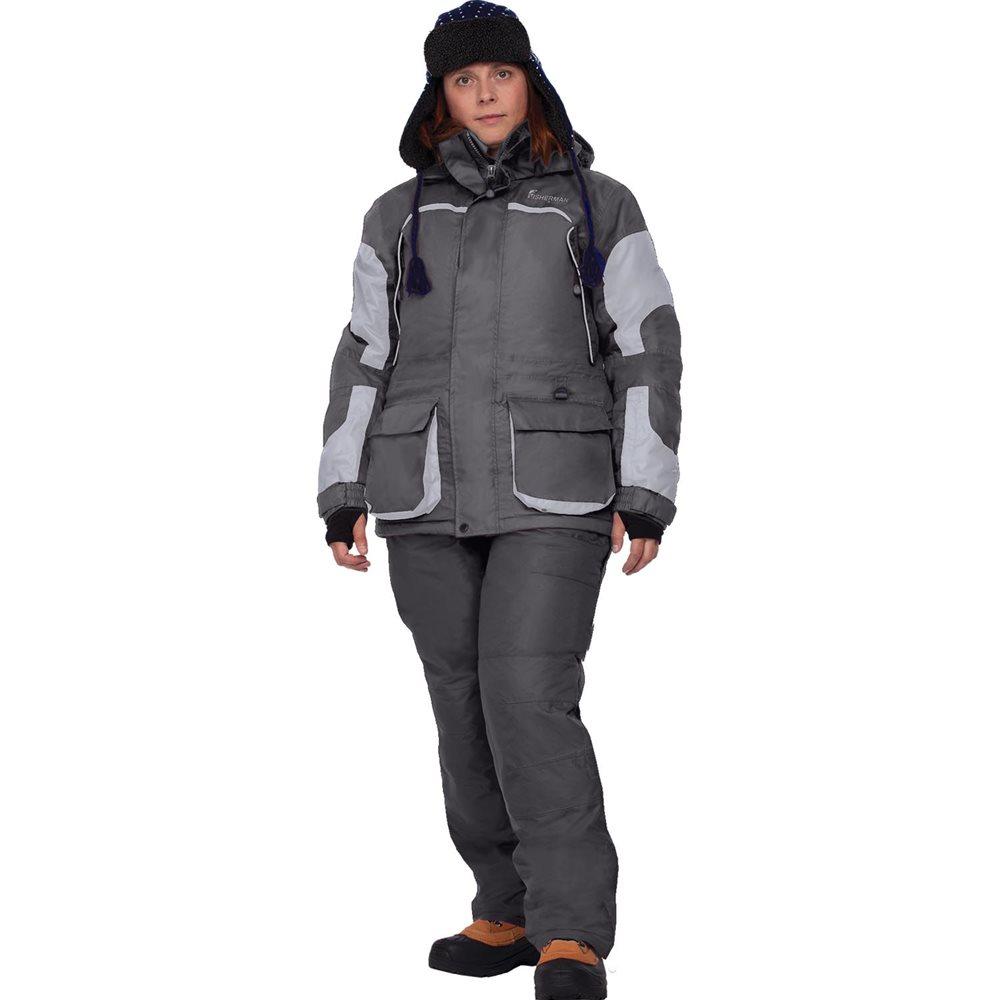 Костюм женский рыболовный FisherMan Nova Tour Фишермен Леди, цвет: серый, черный. 46193-965. Размер XL (50)46193-965Женский костюм для зимней рыбалки состоит из куртки и полукомбинезона, теплый и в то же время легкий костюм. Крой костюма учитывает особенности женской фигуры. Новый утеплитель Termo MAX обеспечит непревзойденный комфорт и сохранение тепла в условиях зимней рыбалки. Климатическая мембрана прекрасно отводит влагу. Анатомический крой рукава обеспечит свободу движений, а обновленный костюма подчеркнет Вашу индивидуальность.Регулировка рукавов и низа брюк по ширине препятствует попаданию воды, снега, а также задуванию холодного воздуха.Внутренние флисовые манжеты прекрасно сохраняют тепло.Теплый съемный капюшон с жестким козырьком прекрасно защитит Вас от попадания снега, дождя и ветра. Капюшон регулируется по ширине и по объему.Ветрозащитная юбка препятствует попаданию снега и задуванию ветра.Регулировка полукомбинезона по росту и эластичные боковые вставки обеспечивают хорошую посадку по фигуре.Удобные внешние и внутренние карманы позволят разместить необходимые мелочи.Молнии оснащены хлястиками – удобно открывать карман даже в объемных рукавицах.Также в области колена имеются кармашки для вставки теплоизолирующих вкладышей.Вставки из плотного износостойкого материала на коленях и в задней части комбинезона.Костюм компактно упаковывается в специальную сумку.