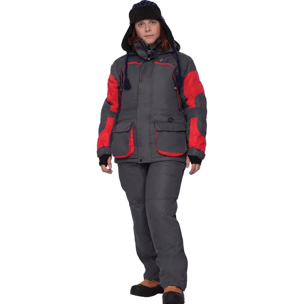 Костюм женский рыболовный FisherMan Nova Tour Фишермен Леди, цвет: серый, красный. 46193-055. Размер XS (42)46193-055Женский костюм для зимней рыбалки состоит из куртки и полукомбинезона, теплый и в то же время легкий костюм. Крой костюма учитывает особенности женской фигуры. Новый утеплитель Termo MAX обеспечит непревзойденный комфорт и сохранение тепла в условиях зимней рыбалки. Климатическая мембрана прекрасно отводит влагу. Анатомический крой рукава обеспечит свободу движений, а обновленный костюма подчеркнет Вашу индивидуальность.Регулировка рукавов и низа брюк по ширине препятствует попаданию воды, снега, а также задуванию холодного воздуха.Внутренние флисовые манжеты прекрасно сохраняют тепло.Теплый съемный капюшон с жестким козырьком прекрасно защитит Вас от попадания снега, дождя и ветра. Капюшон регулируется по ширине и по объему.Ветрозащитная юбка препятствует попаданию снега и задуванию ветра.Регулировка полукомбинезона по росту и эластичные боковые вставки обеспечивают хорошую посадку по фигуре.Удобные внешние и внутренние карманы позволят разместить необходимые мелочи.Молнии оснащены хлястиками – удобно открывать карман даже в объемных рукавицах.Также в области колена имеются кармашки для вставки теплоизолирующих вкладышей.Вставки из плотного износостойкого материала на коленях и в задней части комбинезона.Костюм компактно упаковывается в специальную сумку.