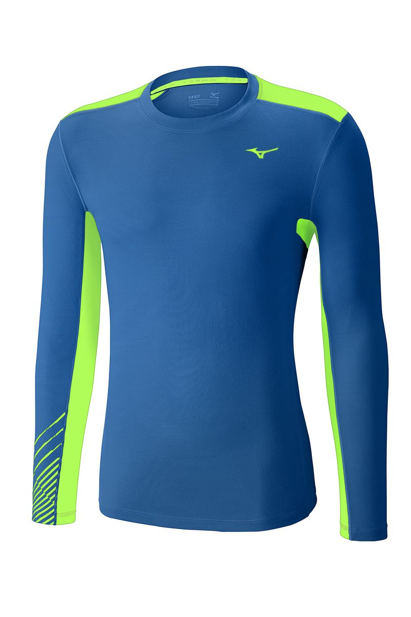 Лонгслив мужской Mizuno Warmalite Venture Crew, цвет: синий, зеленый. J2GA6524-25. Размер M (48)J2GA6524-25Тайтсы выполнены из высококачественного материала, который облегчает терморегуляцию тела зимой. Мягкая ткань из полиэстера для высокого комфорта. Дизайн вдохновлен движениями самурайского меча.