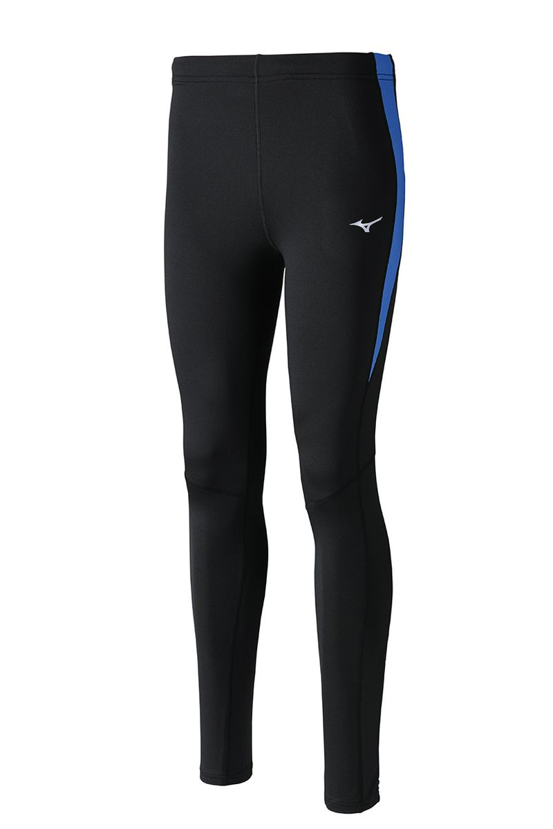 Тайтсы мужские Mizuno Warmalite Venture, цвет: черный, синий. J2GB6520-92. Размер S (46)J2GB6520-92Тайтсы выполнены из высококачественного материала, который облегчает терморегуляцию тела зимой. Мягкая ткань из полиэстера для высокого комфорта. Задний карман на молнии, внутренний шнурок для лучшей посадки.