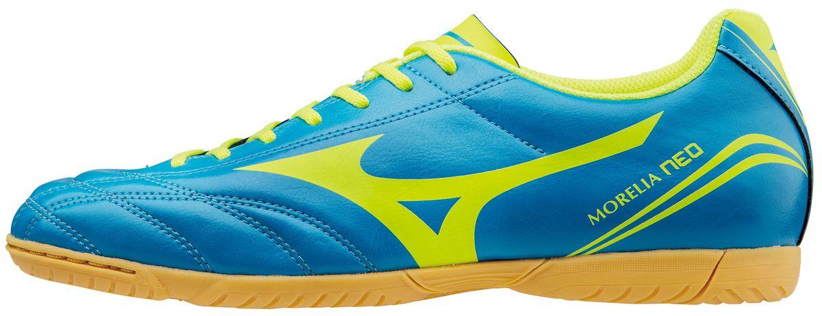 Кроссовки для футзала муж. Mizuno Morelia NEO CL IN, цвет: синий, желтый. P1GF1656-44. Размер 7,5 (41)P1GF1656-44* Стиль Morelia NEO * Мягкий и легкий синтетический верх* Резиновая подошва для игры в зале