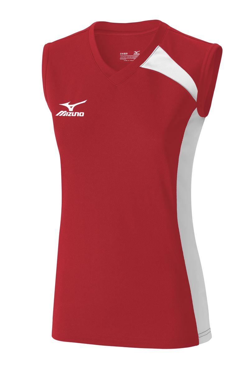 Майка женская Mizuno Trad SS, цвет: красный, белый. V2GA6C21-62. Размер M (46)V2GA6C21-62Футболка для игры в волейбол из легкого и мягкого полиэстера, ассиметричный дизайн. Оформлена напечатанным логотипом Mizuno.