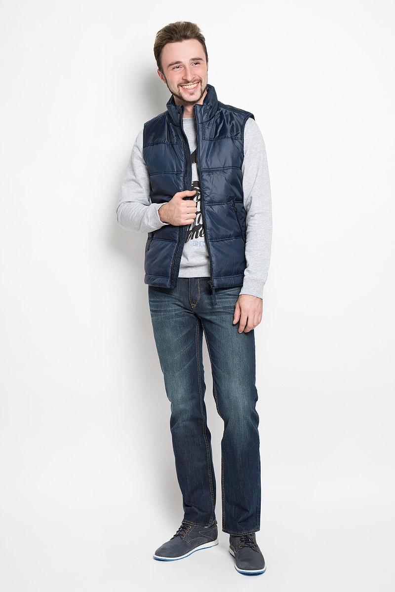 Жилет мужской Sela Casual Wear, цвет: темно-синий. Vp-227/115-6331. Размер S (46)Vp-227/115-6331Мужской утепленный жилет Sela Casual Wear с воротником-стойкой выполнен из полиэстера. Модель застегивается на застежку-молнию, дополнена двумя втачными карманами на застежках-молниях спереди и внутренним втачным карманом на кнопке. Жилет имеет подкладку из синтепона. Низ изделия дополнен шнурком-кулиской.