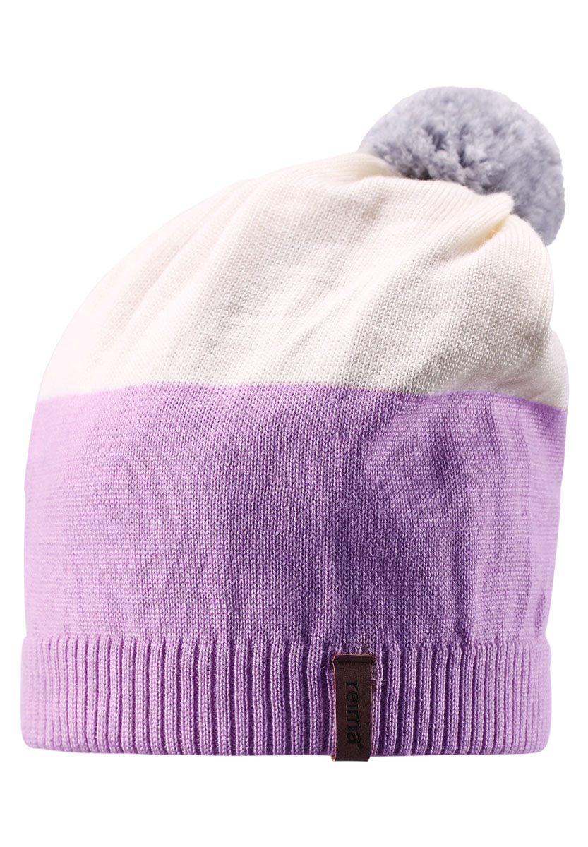 Шапка детская Reima Kompa, цвет: сиреневый, белый. 528497-5000. Размер 54528497-5000Детская шапка связана из теплой полушерсти. Забавный контрастный помпон оживит любой зимний образ!