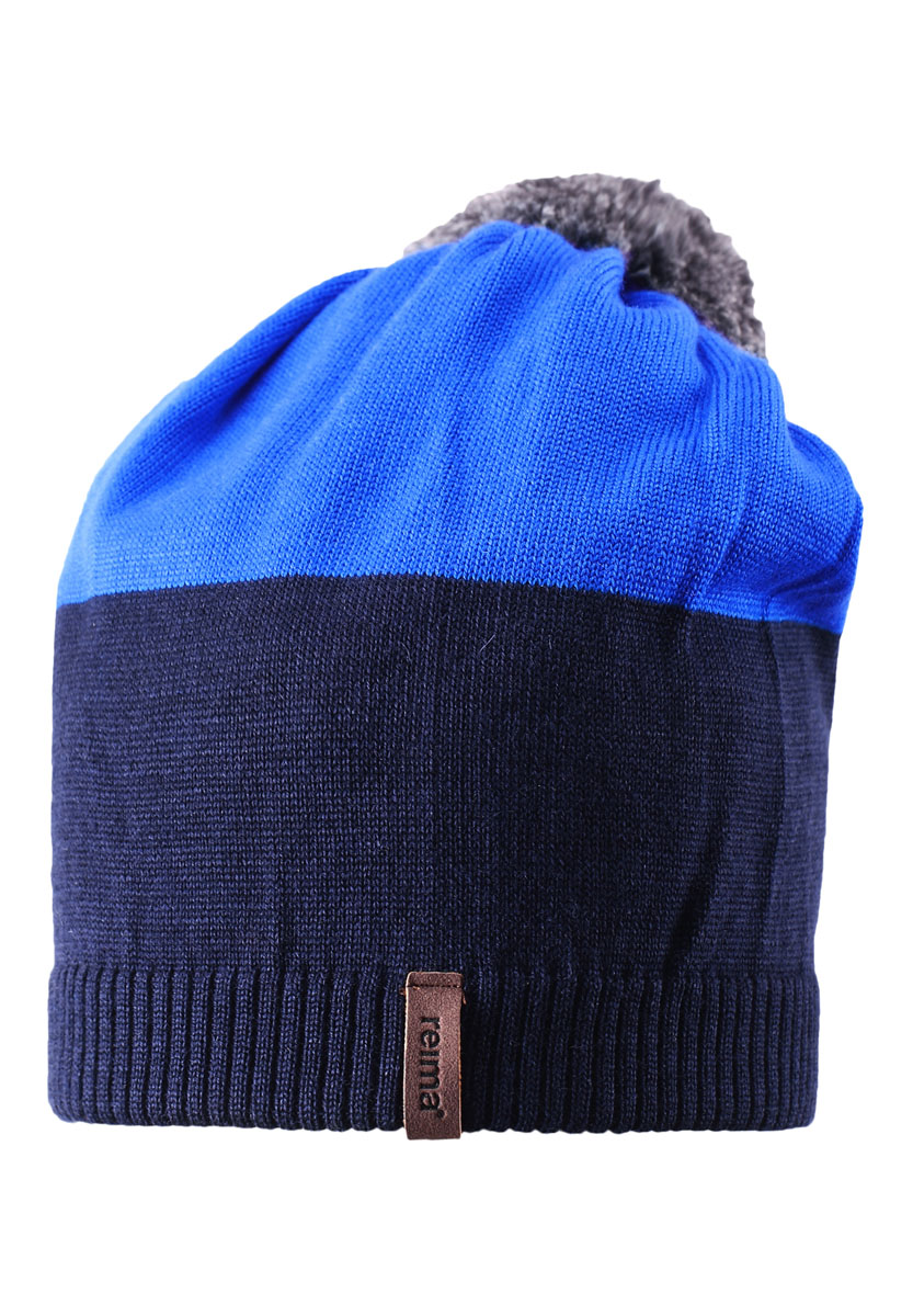 Шапка детская Reima Kompa, цвет: голубой, синий. 528497-6560. Размер 52528497-6560Детская шапка связана из теплой полушерсти. Забавный контрастный помпон оживит любой зимний образ!