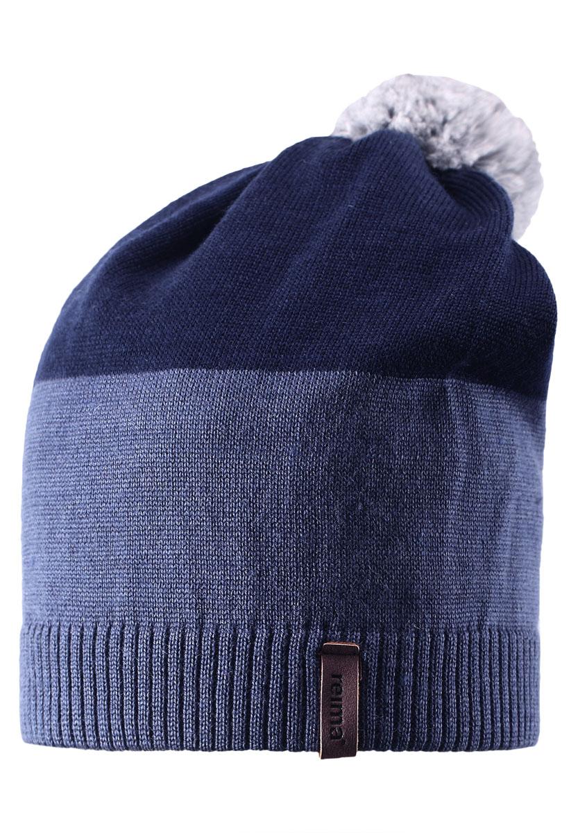 Шапка детская Reima Kompa, цвет: синий, серый. 528497-6760. Размер 50528497-6760Детская шапка связана из теплой полушерсти. Забавный контрастный помпон оживит любой зимний образ!