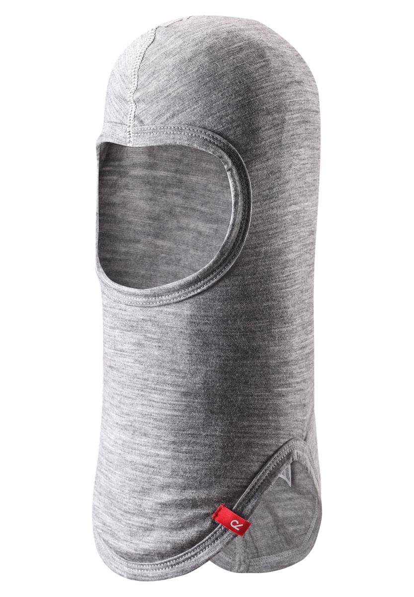 Балаклава детская Reima Howl, цвет: серый. 528500-9400. Размер 46528500-9400Балаклава базового слоя хорошо выводит влагу в наружные слои, а мериносовая шерсть отлично сохраняет тепло. Идеально подходит в качестве внутренней шапочки для очень холодной погоды. Можно поддевать под спортивный шлем для удобства и дополнительной защиты. Незаменим для лыжных склонов и подвижных уличных игр!