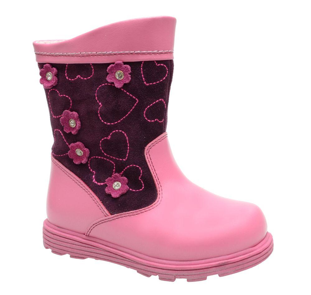 Сапоги для девочки Flamingo, цвет: розовый, темно-бордовый. XC4886. Размер 23XC4886Стильные сапоги для девочки от Flamingo выполнены из натуральной кожи. Модель оформлена вышивкой и декоративными цветками со стразами. Подкладка и стелька из натуральной шерсти не дадут ногам замерзнуть. Застегивается модель на застежку-липучку. Подошва дополнена рифлением.