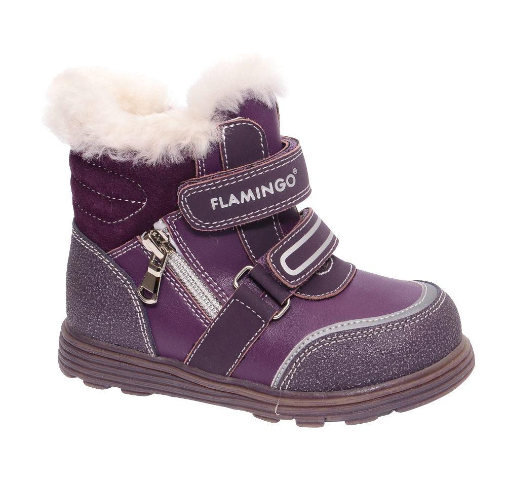 Ботинки для девочки Flamingo, цвет: фиолетовый. W6XY323. Размер 27W6XY323Модные ботинки для девочки от Flamingo, выполненные из натуральной и искусственной кожи, оформлены меховой оторочкой, сбоку - декоративной молнией. Подкладка и стелька из натуральной шерсти не дадут ногам замерзнуть. Ремешки с застежками-липучками надежно зафиксируют модель на ноге. Боковая застежка-молния позволяет легко снимать и надевать модель. Подошва дополнена рифлением.