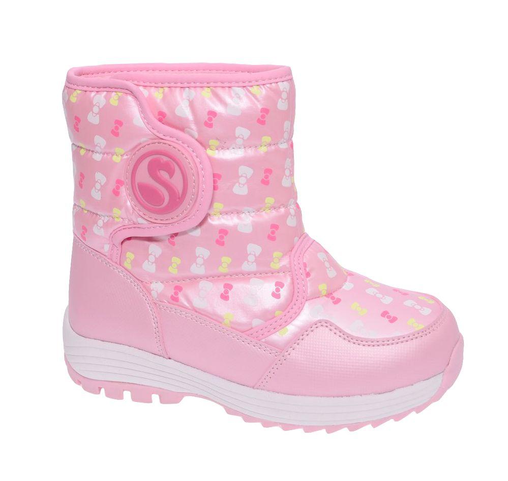 Дутики для девочки Flamingo, цвет: розовый. W6NQ055. Размер 33W6NQ055Модные дутики для девочки от Flamingo, выполненные из нейлона и искусственной кожи, оформлены изображением бантиков. Подкладка и стелька из натуральной шерсти не дадут ногам замерзнуть. Застежка-липучка надежно зафиксирует модель на ноге. Подошва дополнена рифлением.