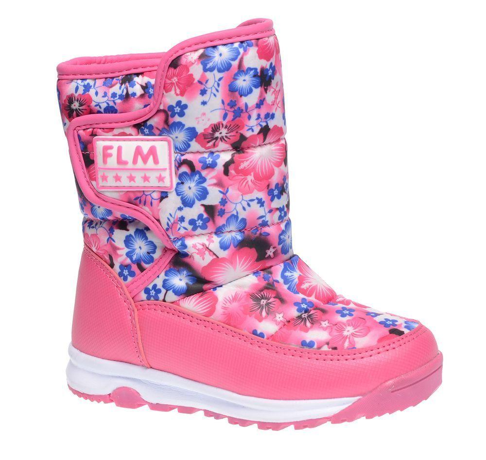 Дутики для девочки Flamingo, цвет: розовый, синий, белый. 52-NC404. Размер 2752-NC404Практичные и удобные дутики Flamingo покорят вашу девочку с первого взгляда! Модель выполнена в нижней части из искусственной кожи, а голенище - из высококачественного нейлона контрастного цвета, оформленного рисунками в виде цветов. Подкладка и стелька из шерсти согреют ножки ребенка в холод. Удобная застежка-липучка сбоку на голенище, дополненная вставкой с тиснением в виде логотипа бренда, обеспечивает практичность и комфортную фиксацию модели на ноге. Уплотненная вставка на мысе защищает детскую стопу от ударов при ходьбе. Подошва с рифленым протектором обеспечивает удобство и практичность на каждый день. В таких дутиках ножкам вашего ребенка всегда будет комфортно, уютно и тепло!