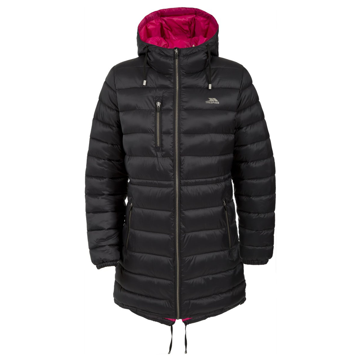 Пальто женское Trespass Prudhoe, цвет: черный. FAJKCAL20003. Размер XS (42)FAJKCAL20003Теплое женское пальто Trespass Prudhoe выполнено из 100% полиэстера. Утеплитель ColdHeat 200 г/м2 (синтетический, микроволоконный с функцией быстрого отвода влаги и высоким уровнем теплозащиты и износостойкости). Модель с капюшоном и длинными рукавами застегивается на застежку-молнию.