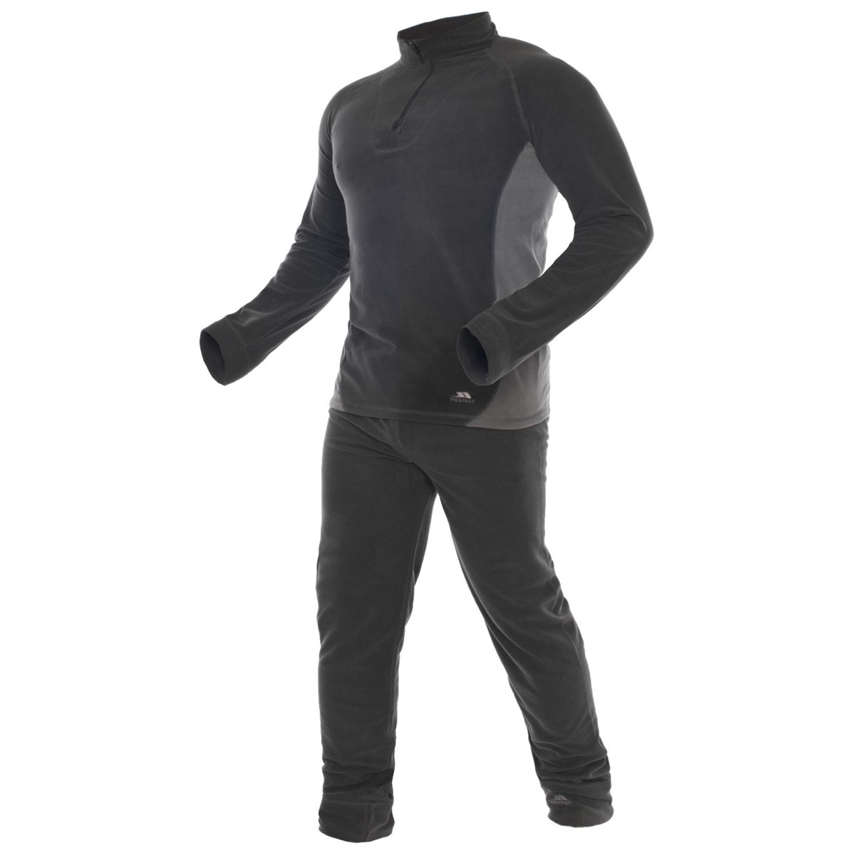 Термобелье Trespass Thriller: кофта, брюки, цвет: темно-серый. UABLSEF20001. Размер S (48)UABLSEF20001Комплект термобелья Trespass Thriller изготовлен из полиэстера и дополнен короткой молнией. Он обеспечивает отвод лишней влаги, сохраняет тело сухим. Отлично подходит для занятия спортом.