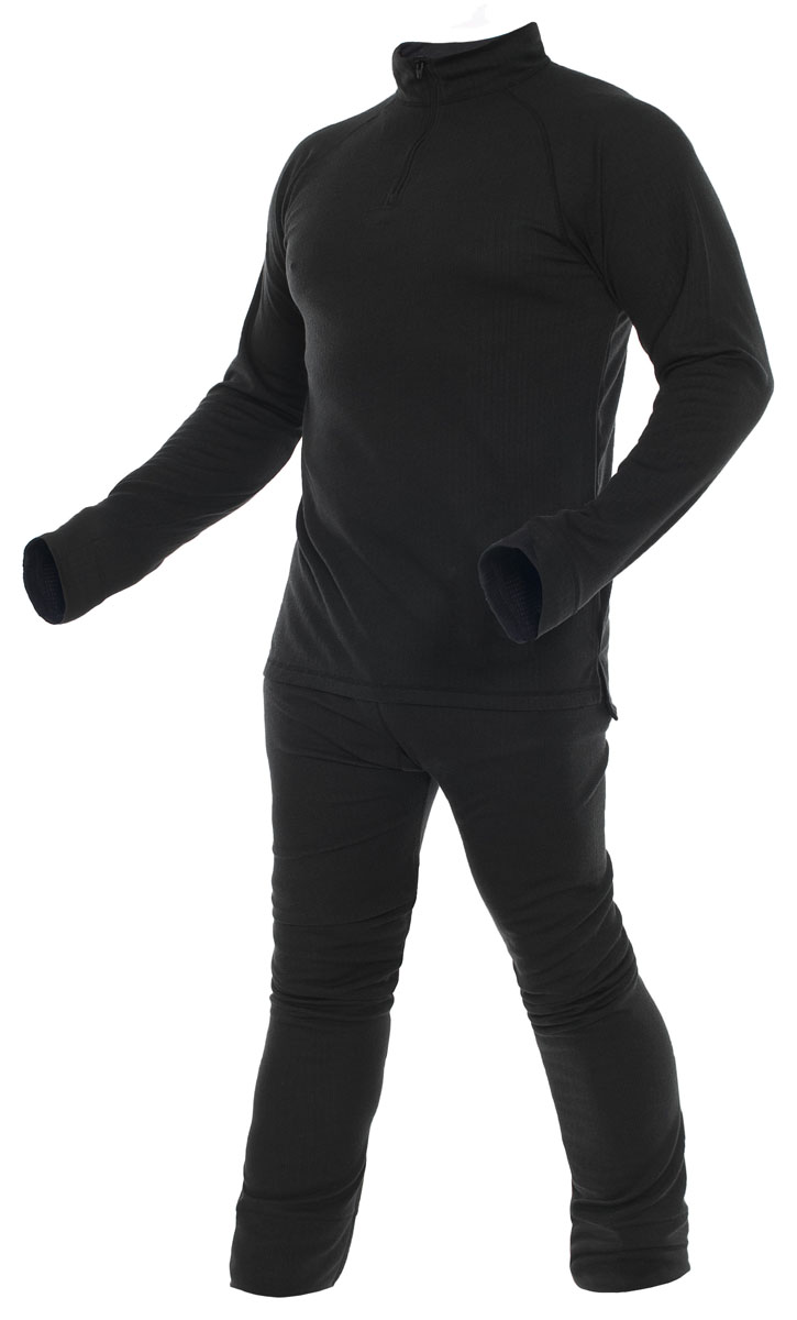 Термобелье Trespass Unite360: кофта, брюки, цвет: черный. UABLSEI20001. Размер M (50)UABLSEI20001Комплект термобелья Trespass Unite360 изготовлен из полиэстера и дополнен застежкой-молнией. Он обеспечивает отвод лишней влаги, сохраняет тело сухим. Отлично подходит для занятия спортом.