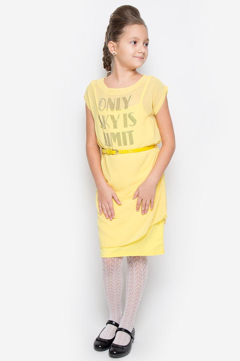 Твинсет для девочки Nota Bene, цвет: желтый. SS162G5316-2. Размер 140SS162G5316-2Твинсет для девочки Nota Bene, состоящий из трикотажного сарафана и легкой туники, идеально подойдет юной моднице. Сарафан изготовлен из хлопка с добавлением полиэстера, он очень мягкий и приятный на ощупь, не сковывает движения ребенка и позволяет коже дышать. Туника выполнена из тонкой полупрозрачной ткани.Сарафан с круглым вырезом горловины имеет тонкие бретели, регулируемые по длине.Туника с круглым вырезом горловины и короткими рукавами украшена аппликацией в виде надписи, выполненной из декоративных металлических клепок. На талии модель дополнена узким ремешком со шлевками. Низ туники ассиметричен. В таком твинсете ваша принцесса всегда будет в центре внимания!