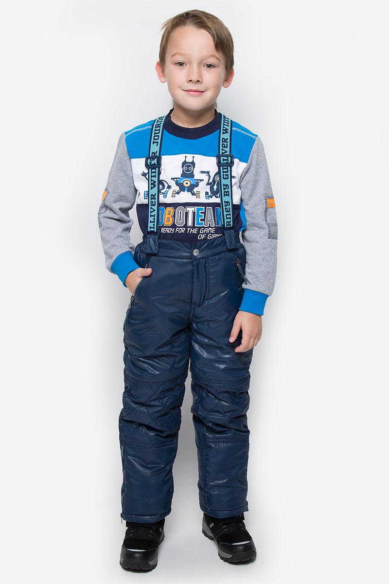 Брюки утепленные для мальчика Gulliver, цвет: темно-синий. 21608BKC6403. Размер 128, 7-8 лет21608BKC6403Утепленные брюки для мальчика Gulliver идеально подойдут ребенку в холодное время года. Брюки выполнены из полиэстера. В качестве утеплителя используется 100% полиэстер.Брюки прямого кроя застегиваются спереди на крючок в поясе и ширинку на застежке-молнии. Брюки оснащены широкими эластичными бретелями на липучках, которые можно отстегнуть при желании. Бретели регулируются по длине. Спереди расположены два прорезных кармашка на застежках-молниях, сзади - два прорезных открытых кармана. Снизу брючин предусмотрены внутренние манжеты с прорезиненными полосками, препятствующие попаданию снега и холодного воздуха. Низ брючин дополнен застежками-молниями.