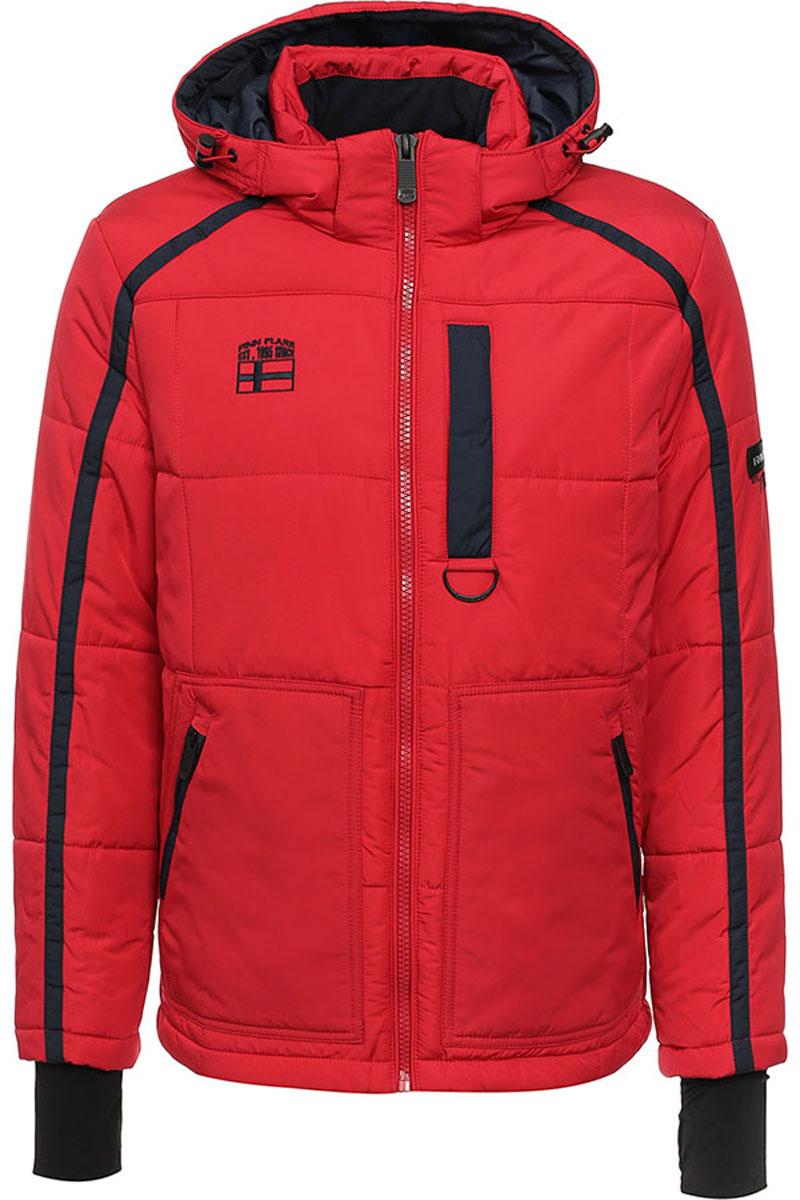 Куртка мужская Finn Flare, цвет: красный. W16-22013_317. Размер XXL (56)W16-22013_317Стильная мужская куртка Finn Flare превосходно подойдет для прохладных дней. Куртка выполнена из высококачественного материала с подкладкой и утеплителем из полиэстера. Модель с длинными рукавами и съемным капюшоном застегивается на застежку-молнию. Капюшон на стопперах, а макушка дополнена утягивающим хлястиком. Спереди изделие дополнено двумя карманами на застежке-молнии, на груди один прорезной карман на молнии. На внутренней стороне куртка оформлена одним прорезным карманом на молнии и двумя накладными карманами на липучке и пуговице. Рукава модели дополнены эластичными манжетами, с отверстием для большого пальца. Оформлена модель на груди вышивкой с названием бренда.