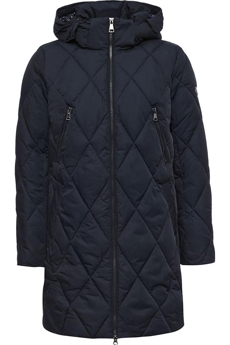 Пальто женское Finn Flare, цвет: темно-синий. W16-12024_101. Размер L (48)W16-12024_101Женское пальто Finn Flare выполнено из полиэстера с утеплителем из синтепона. Модель со съемным капюшоном застегивается на молнию с внутренней ветрозащитной планкой. Капюшон пристегивается при помощи кнопок. Спереди расположены два кармана на застежках-кнопках, на груди два прорезных кармана на застежке-молнии. Талия регулируется при помощи эластичной резинки со стопперами. На рукаве изделие дополнено фирменной металлической пластиной.