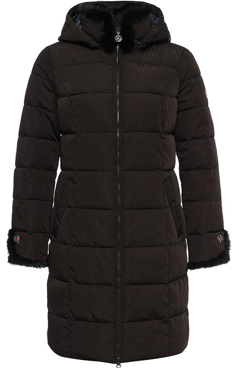 Пальто женское Finn Flare, цвет: черный. W16-11027_616. Размер XL (50)W16-11027_616Стильное женское пальто Finn Flare изготовлено из 100% полиэстера. В качестве утеплителя используется полиэстер. Пальто с воротником-стойкой и съемным капюшоном, дополненным эластичным шнурком, застегивается на пластиковую молнию. Капюшон пристегивается к пальто с помощью кнопок. Спереди расположены два кармана на застежках-кнопках. Модель дополнена натуральным мехом крашенной норки.