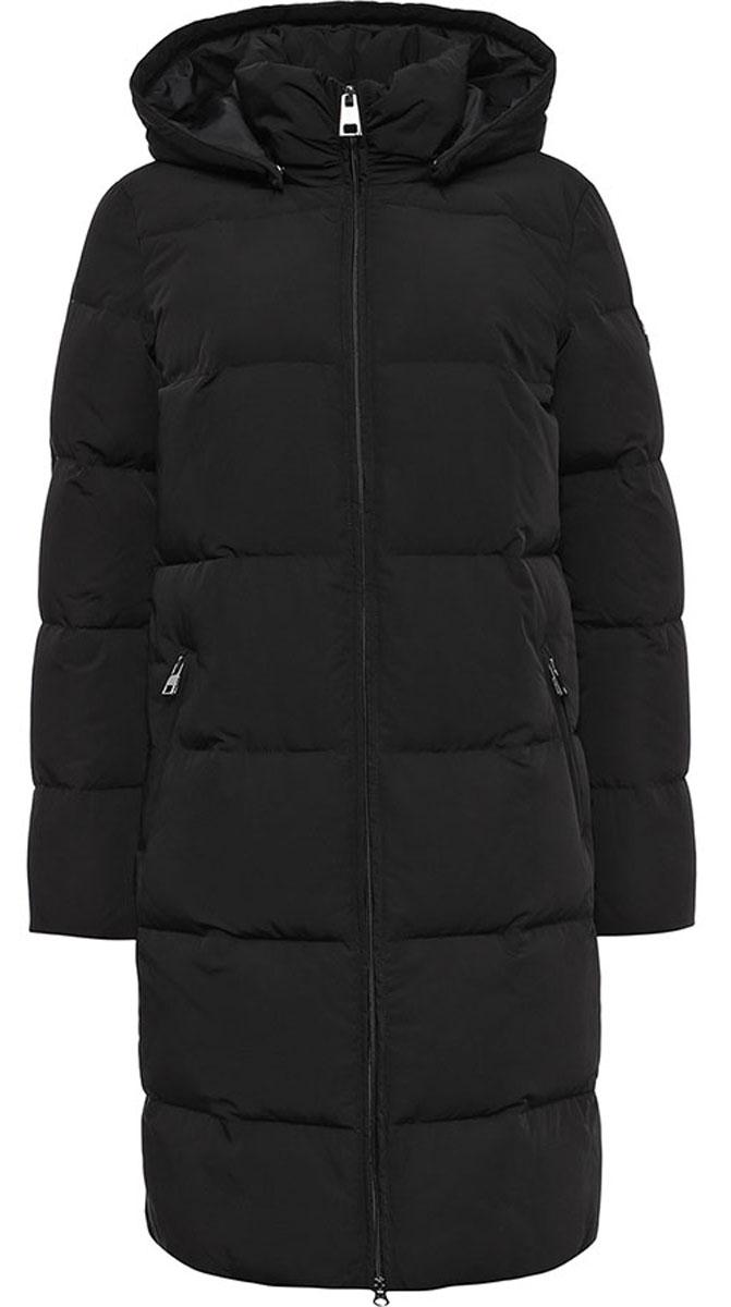 Пальто женское Finn Flare, цвет: черный. W16-11004_200. Размер XL (50)W16-11004_200Удобное и теплое женское пальто Finn Flare изготовлено из 100% полиэстера. Удлиненная модель с длинными рукавами и с капюшоном с наполнителем из пуха и пера. Застегивается изделие на застежку молнию и дополнительно имеет внутреннюю ветрозащитную планку. Изделие дополнено двумя карманами на застежках-молниях.