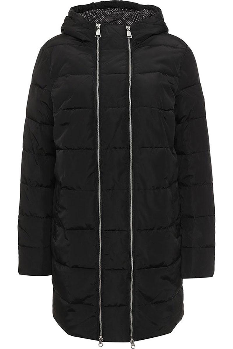 Куртка женская Finn Flare, цвет: черный. W16-32008_200. Размер M (46)W16-32008_200Женская куртка Finn Flare выполнена из ветрозащитного и водостойкого материала с утеплителем из полиэстера. Модель с несъемным капюшоном застегивается на молнию. Капюшон дополнен по краю эластичным шнурком со стопперами. Спереди расположены два втачных кармана на кнопках. Манжеты рукавов выполнены на эластичных резинках. Куртка украшена спереди декоративной металлической молнией и фирменной металлической пластиной с названием бренда.