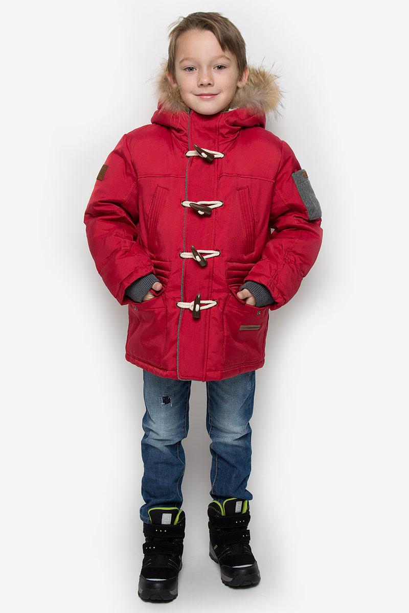 Пуховик для мальчика Gulliver, цвет: бордовый. 21607BKC4601.