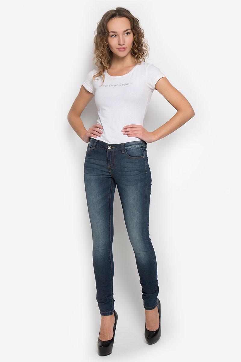 Джинсы женские Broadway, цвет: темно-синий джинс. 10193. Размер 27-32 (44/46-32)10193_537Стильные женские джинсы Broadway созданы специально для того, чтобы подчеркивать достоинства вашей фигуры. Модель-слим со стандартной посадкой станет отличным дополнением к вашему современному образу.Застегиваются джинсы на металлическую пуговицу в поясе и ширинку на застежке-молнии, имеются шлевки для ремня. Спереди модель дополнена двумя втачными карманами и небольшим секретным кармашком, а сзади - двумя накладными карманами. Джинсы оформлены эффектом потертости и перманентными складками.Эти модные и в тоже время комфортные джинсы послужат отличным дополнением к вашему гардеробу.