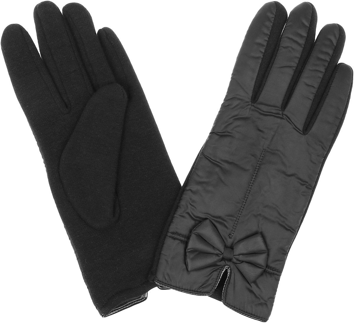 Перчатки женские Finn Flare, цвет: черный. W16-11305_200. Размер 6,5W16-11305_200Стильные женские перчатки Finn Flare изготовленные из высококачественных материалов на подкладке из полиэстера, станут идеальным вариантом для прохладной погоды. Они хорошо сохраняют тепло, мягкие, идеально сидят на руке и отлично тянутся. Перчатки оформлены отстрочками и небольшими декоративными бантиками.