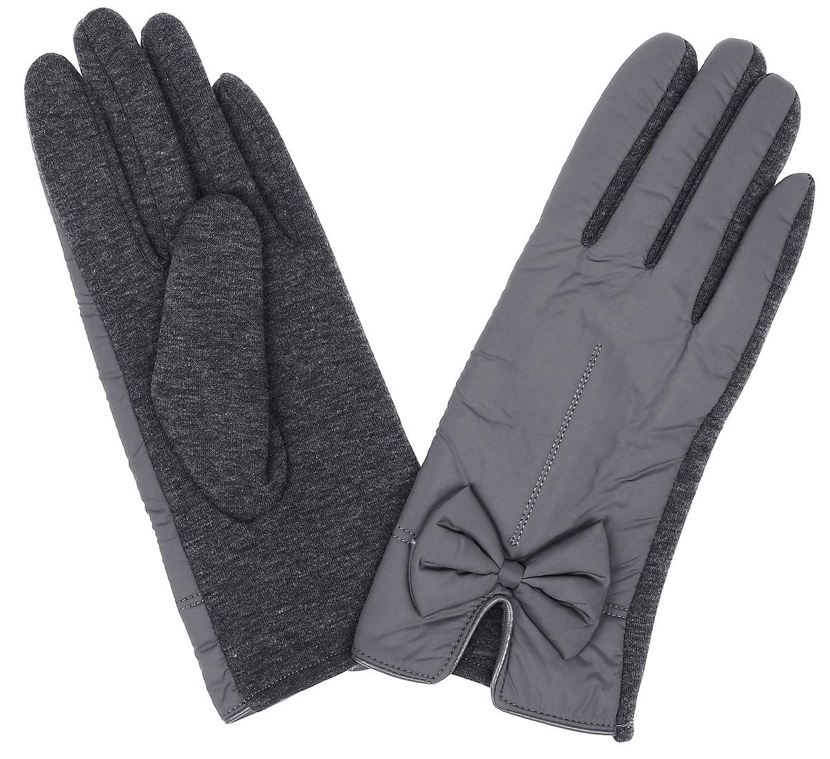 Перчатки женские Finn Flare, цвет: темно-серый. W16-11305_202. Размер 6,5W16-11305_202Стильные женские перчатки Finn Flare изготовленные из высококачественных материалов на подкладке из полиэстера, станут идеальным вариантом для прохладной погоды. Они хорошо сохраняют тепло, мягкие, идеально сидят на руке и отлично тянутся. Перчатки оформлены отстрочками и небольшими декоративными бантиками.